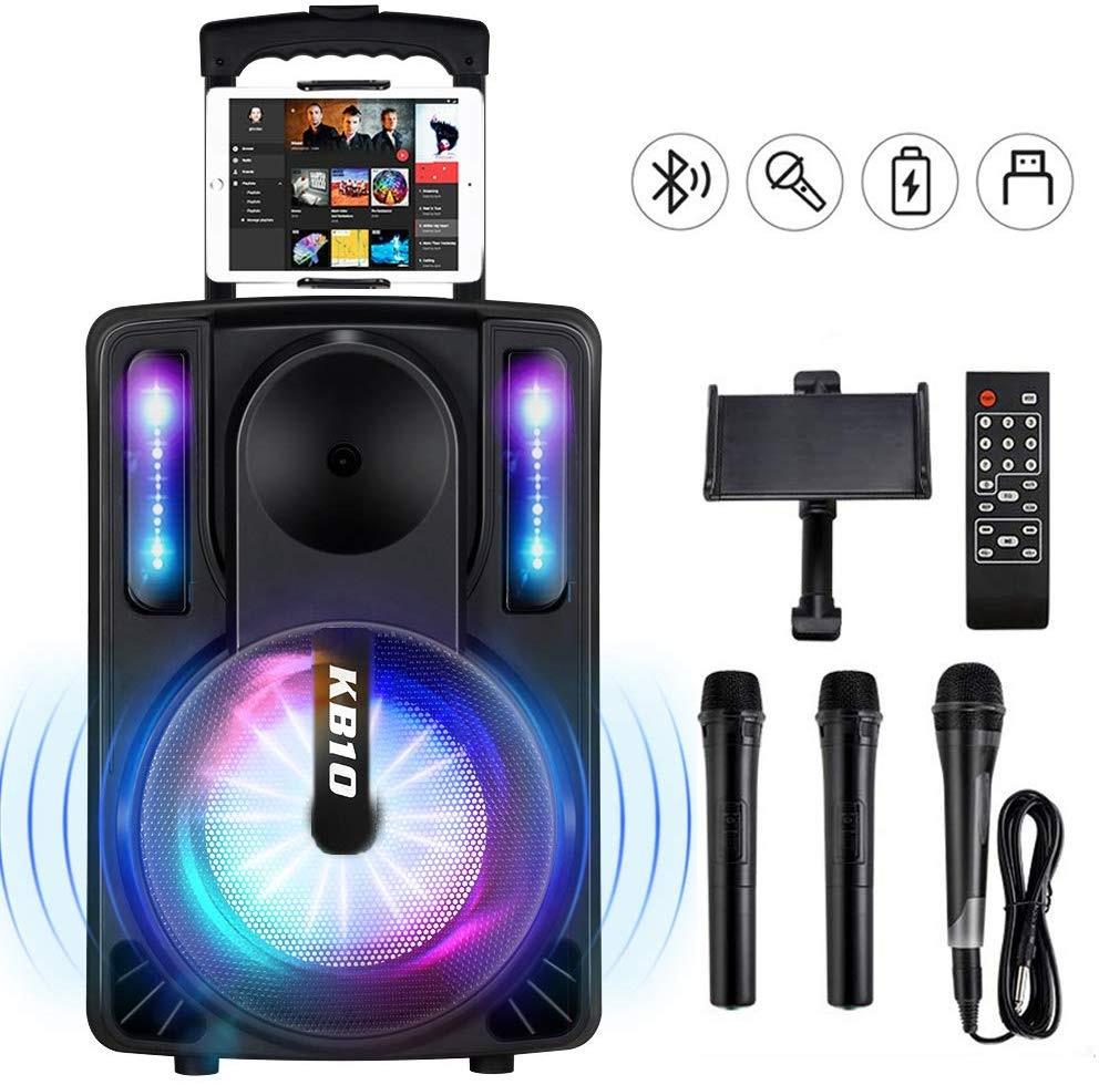 Karaoke Machine for Kids & Adults, SEAPHY DJ Lights 10'' Woofer BT Connectivity Rechargeable PA System-Audio Recording
