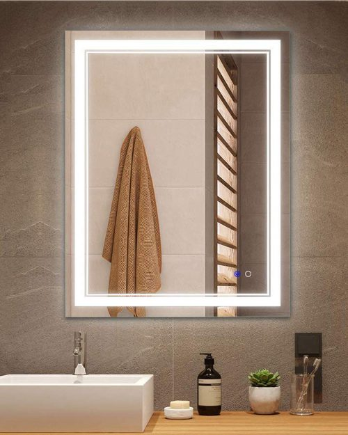 Keonjinn 24 x 32 Inch Anti-Fog Horizontal/Vertiacl Dimmable LED Bathroom Vanity Mirror
