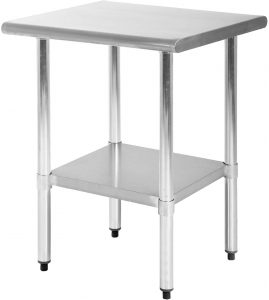 Kitchen Work Table Scratch Resistent and Antirust Metal Stainless Steel Work Table with Adjustable Table Foot