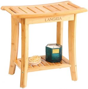 LANGRIA Bamboo Shower Bench Waterproof Wood Shower Chair, Spa Bath Organizer Seat Stool