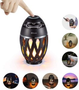 LED Flame Outdoor Table Lamp, DiKaou Torch Table Lamp with Blutooth Speaker