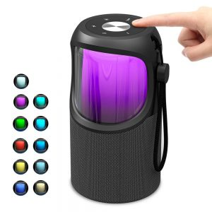 JUSTNEED Waterproof 360° Loud Stereo Speaker with 11 Changing RGB Colors Light for Home Party Camping Beach