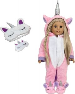 MY GENIUS DOLLS Clothes - Unicorn Onesie Pajama with Matching Sleepover Masks