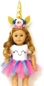 MY GENIUS DOLLS Unicorn Clothes, Headband, Tutu -fits All 18 inch Dolls Like American Girl