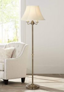 Montebello Traditional Floor Lamp Antique Brass Shabby Chic Off White Bell Shade