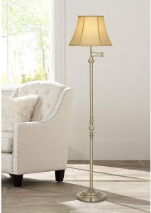 Montebello Traditional Floor Lamp Swing Arm Antique Brass Off White Bell Shade
