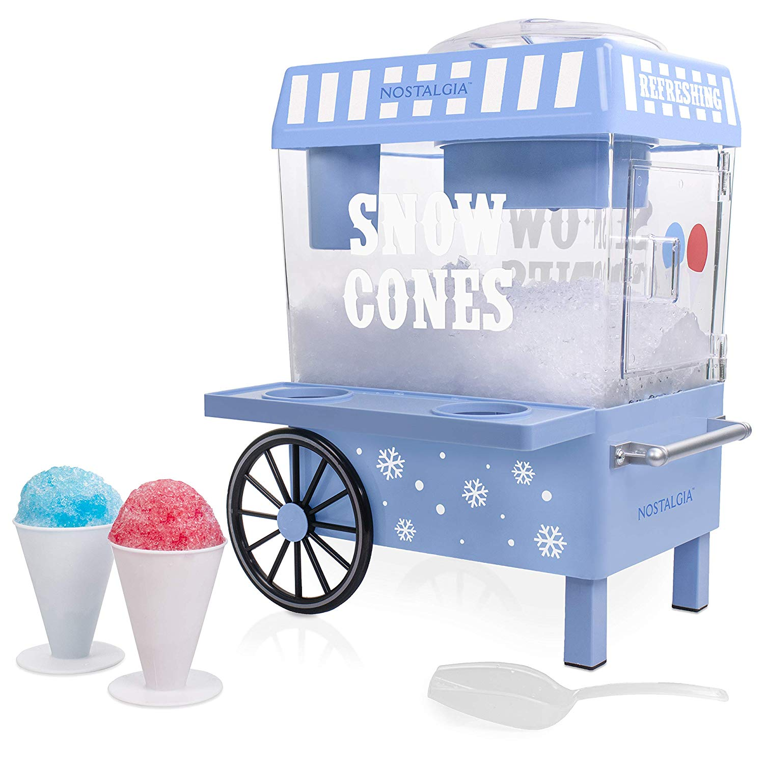 Nostalgia SCM525BL Vintage Countertop Snow Cone Maker Makes 20 Icy Treats