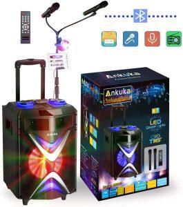 Portable Bluetooth Karaoke Machine, Ankuka Wireless PA Speaker Sound System with USB Disco Lights