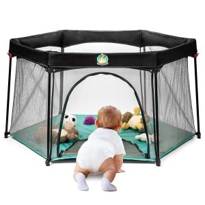 Portable Playard Play Pen for Infants and Babies - Lightweight Mesh Baby Playpen with Carrying Case