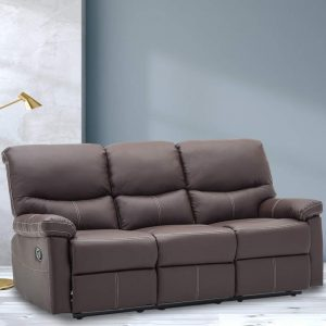 Reclining Sofa PU Leather Sofa Recliner Couch Recliner Sofa Manual (3 Seater) for Living Room Brown