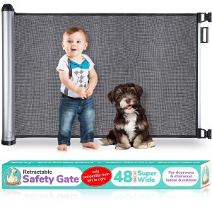 Retractable Baby Gate - Extra Wide Baby Safety Gate and Pet Gate for Stairs, Doors, and More