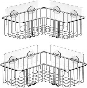 SMARTAKE 2-Pack Corner Shower Caddy, Adhesive Bath Shelf with Hooks