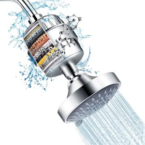 Shower Head and 15 Stage Shower Filter Combo, FEELSO High Pressure 5 Spray