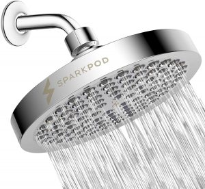 SparkPod Shower Head - High Pressure Rain - Luxury Modern Chrome Look - Easy Tool Free Installation