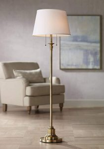 Spenser Traditional Floor Lamp Brushed Antique Brass Metal Off White Linen Fabric Drum Shade