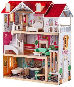 TOP BRIGHT Wooden Dollhouse with Elevator