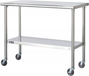 stainless steel work table with shelf under and wheels