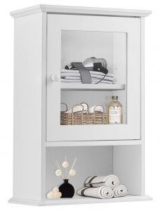 Wall Mounted Storage Organizer with Door and Open Shelf, Hanging Medicine Cabinet