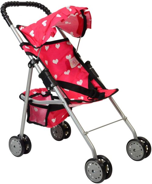 The New York Doll Collection My First Doll Stroller with Basket & Heart Design