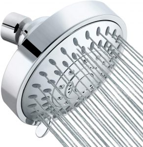 Tibbers High Pressure Shower Head,5 Settings Showerhead with Adjustable Metal Swivel Ball Joint