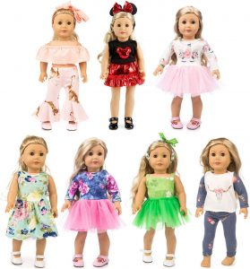 XFEYUE 7 Sets 18 inch Doll Clothes Gifts and Accessories