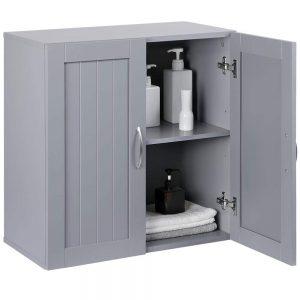 2 Door Wall Mounted Storage Cabinet with Adjustable Shelf