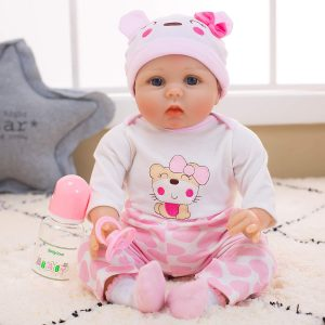 Yesteria Real Life Reborn Baby Dolls Girl | Silicone Cotton Body Pink Outfit 22 Inches | lifelike silicone baby doll