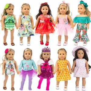 "ZITA ELEMENT 24 Pcs Girl Doll Clothes Dress | 18"" Doll Clothes and Accessories"