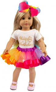 ZITA ELEMENT American 18 Inch Girl Doll Clothes and Accessories - 1 Rainbow Tutu, 1 Jumpsuit and 1 Bow Hair Clip