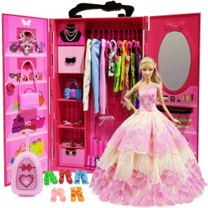 ZITA ELEMENT Doll Closet Wardrobe for 11.5 Inch Girl Doll Clothes and Accessories Storage