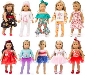 ZQDOLL 19 Pcs Girl Doll Clothes Gift for American 18 Inch Doll Clothes and Accessories