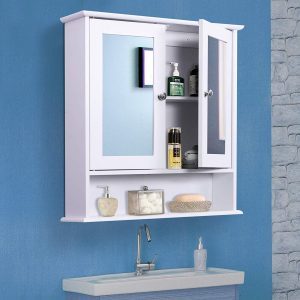 Wall Mounted Medicine Cabinets with Double Mirror Doors & Adjustable Shelf White