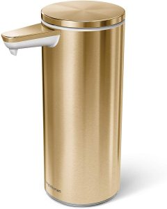 simplehuman 9 oz. Sensor Soap Pump, Brass Stainless Steel, Rechargeable