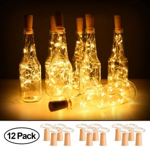 12 Pack Wine Bottle Lights with Cork, 2M 20 LED Battery Operated Copper Wire Fairy String Light