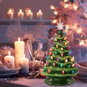 pre lit ceramic tabletop christmas tree