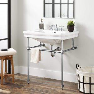 Signature Hardware Porcelain Console Sink | chrome bathroom vanity legs