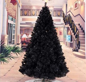 black christmas tree decorated