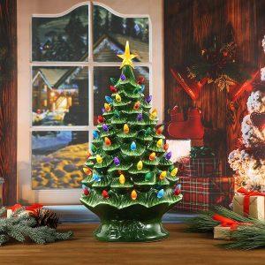 ceramic christmas tree with snow