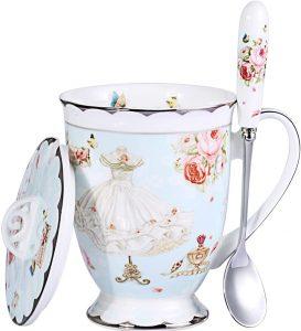 Royal Fine Bone China Coffee Mug 11oz Light Blue TeaCups