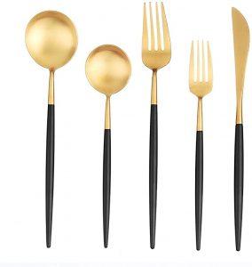 Gold flatware Black matte handle