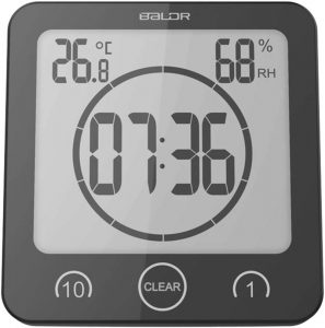 BALDR Bathroom LCD Waterproof Shower Clock, Black