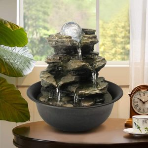 Zen Meditation Indoor Waterfall Feature with LED Light for Home Office Bedroom Relaxation