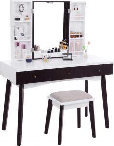BEWISHOME Vanity Set with Mirror, Cushioned Stool, Storage Shelves, Makeup Organizer, 3 Drawers White Makeup Vanity Desk Dressing Table