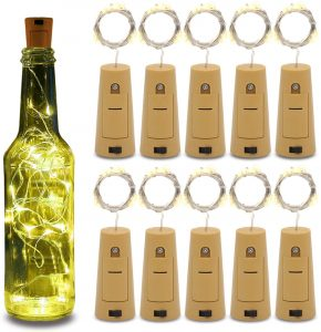 Betus 10 Pack Wine Bottles Cork String Lights