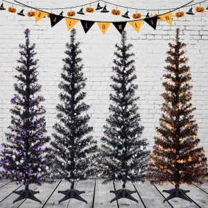 Pop Up Pencil Xmas Tree with Plastic Stand Outdoor Indoor for Home Decoration, Office, Party, Apartment, Fireplace