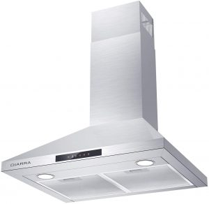 Ducted/Ductless Convertible Stove Vent Hood with Permanent Filters & 3 Speed Exhaust Fan