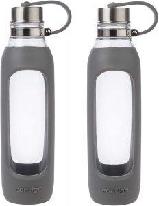 Contigo Purity Glass Water Bottle, 20 oz, Smoke with Silicone Tether