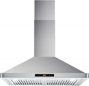Ceiling Chimney-Style Over Stove Vent, LED Light, Permanent Filter, 3 Speed Fan, 30 inches, Stainless Steel