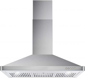 Kitchen Chimney-Style Over Stove Vent LED Light , 3 Speed Exhaust Fan, Permanent Filter ( Stainless Steel)