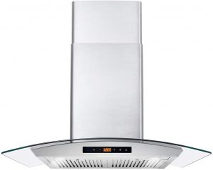 Ducted Exhaust Vent, 3 Speed Fan, Soft Touch Controls, Tempered Glass, Permanent Filters in Stainless Steel, 30 inches
